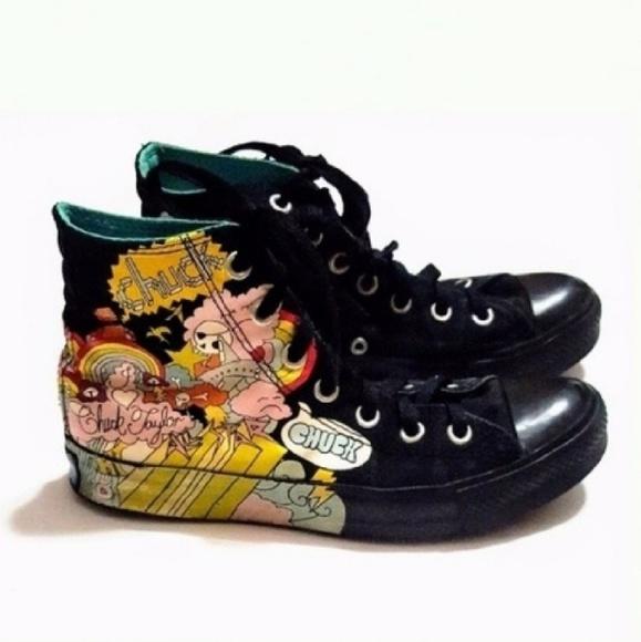 Converse Shoes - Converse Chucks Black Yellow Graffiti High Tops 0d1409804